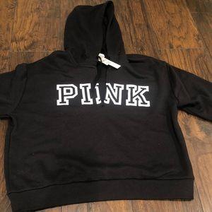 VS pink quarter zip hoodie in black